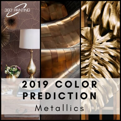 metallic design ideas with text that says 2019 color prediction metallics