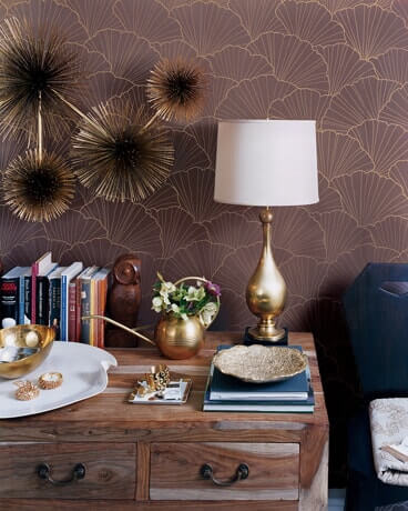 gold and brown decorated room with metallic decor