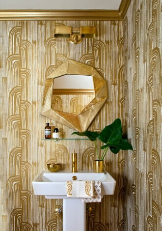 Gold detailed bathroom space
