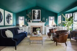 Jade green painted living room with decor