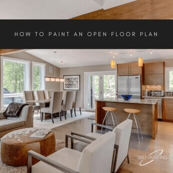 open floor plan room with text that says how to paint an open floor plan