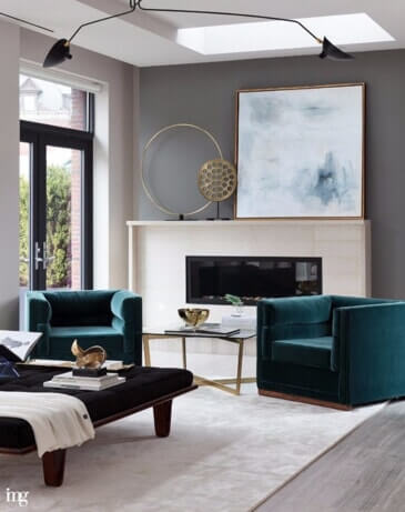 living room with emerald and neutral accents