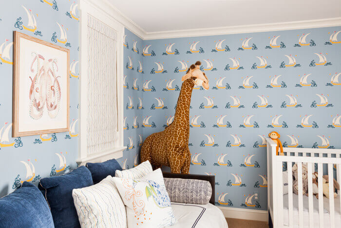Child's room with wallpaper