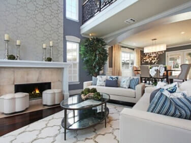 open floor plan with neutral accents