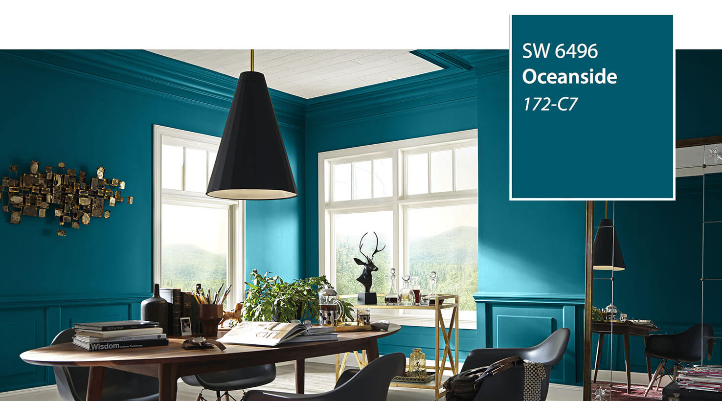 Office painted with Sherwin-Williams Oceanside