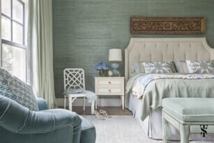 bedroom with mint color palette and neutral details