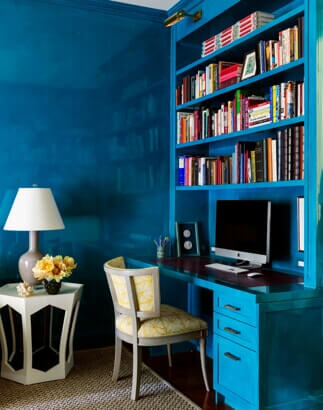 blue painted office space