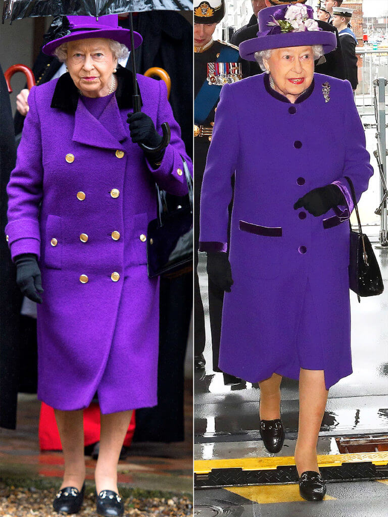 Queen Elizabeth wearing ultra-violet clothes