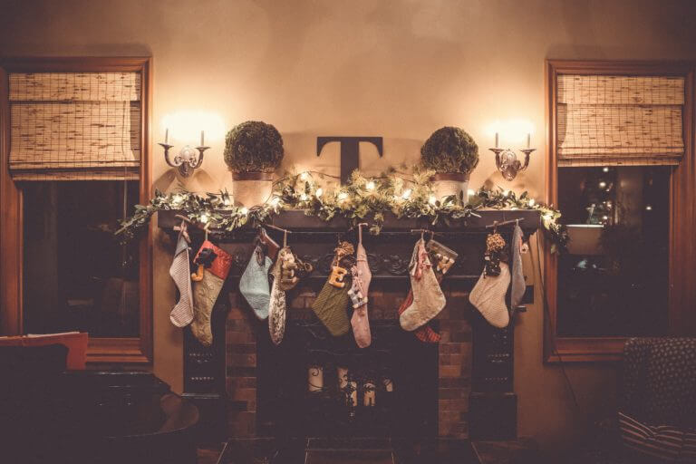 Stockings on a mantle